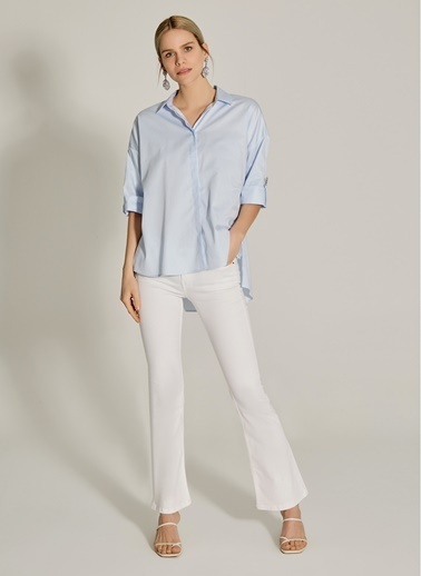 NGSTYLE Taş Detaylı Geniş Kalıp Gömlek Mavi